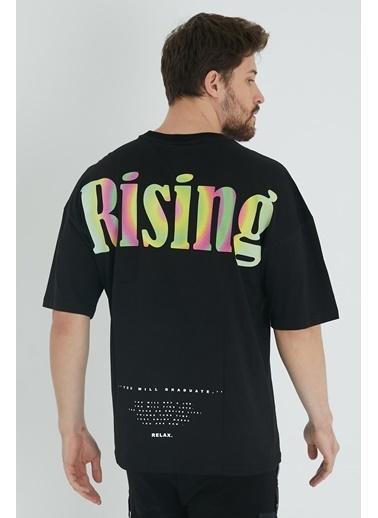 XHAN Buz Mavisi Arkası Baskılı Oversize T-Shirt 1Kxe1-44646-43 Siyah